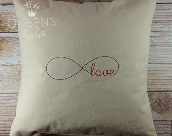 Forever Love Decorative Throw Pillow - 16 x 16 Handmade Throw Pillow - Infinity Love