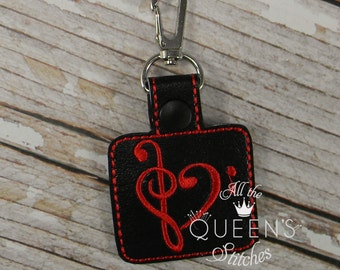 Treble Clef Bass Clef Music Charm Key Fob with Swivel Clip