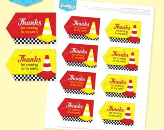 Instant Download - VINTAGE RACING Party Favour Tags Printable