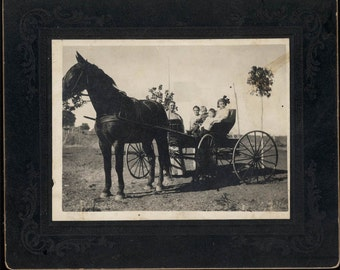 vintage photo Cabinet Horse & Buggy with Children sitting in Seat
