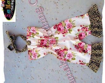 Custom Boutique Clothing Girl Floral Cheetah Romper Set Birthday Outfit Jumper Summer Halter Size 3 6 9 12 18 24 month 2 4 5 7 8 T