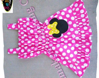 Custom Boutique Clothing Minnie Mouse Dress Birthday Baby Girl Pink Polka Dot Summer 3 6 9 12 18 24 month size 2t 2 3t 3 4t 4 5t 5 6 7 8
