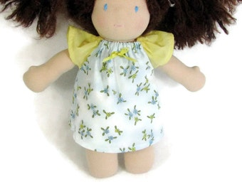 Doll dress for your 10 to 12 inch Waldorf doll, Light blue and yellow doll dress,  optional yellow bloomers, handmade doll clothes