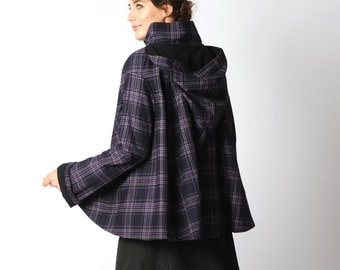 Purple Plaid Cape, Purple and black hooded cape coat with goblin hood and flared sleeves, Black and purple plaid hooded cape - sz S-M