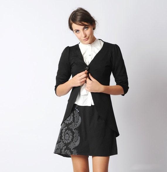 Long black cardigan - Pleated swallowtail jersey jacket - Black jersey - Office fashion