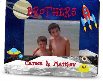 personalized brothers picture frame outer space