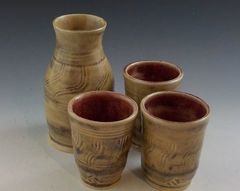 Stoneware Whiskey or Sake Set - Bottle and 3 Cups - Juice Pitcher and Tumblers - Handmade Ceramic - Oatmeal Tan and Oxblood  s390