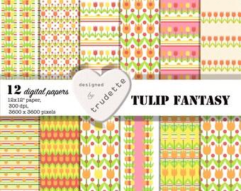Digital paper - tulips - 12 pack - orange - yellow - pink - Spring