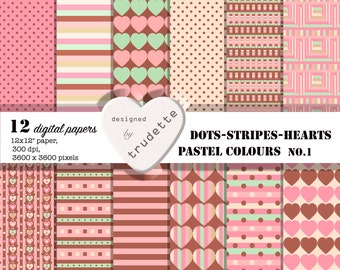 Polka-Dots, Stripes, Hearts, Digital Paper Pack, Instant download, school supplies, scrapbooking papers,