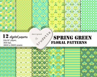 "Green Floral digital paper: ""Spring Green"" for scrapbooking, invites, cards, background"