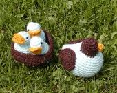 Mama and Baby birds in Nest- Amigurumi-crochet-plush crochet