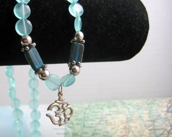 Sterling OM Pendant on Cool Dyed Jade Beaded Strand Necklace