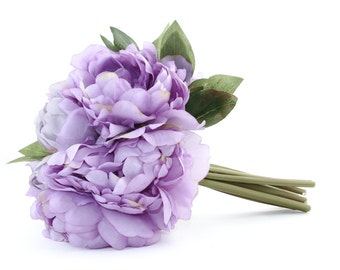 Full Peony Bouquet in Lavender Purple -- Artificial Flower, Wedding Bouquet