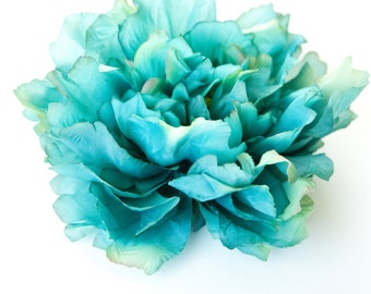 EXTRA LARGE Turquoise Aqua Blue Full Peony - 7 inches -- Artificial Flower - ITEM 0597
