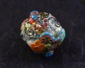 Leah Fairbanks Lampworked Glass Bead Bright Fabric