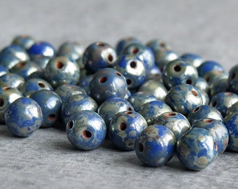 Sale 25% Off Blue Picasso Rounduo Czech Glass Two Hole Round 5mm Bead : 50 pc Round Duo 2 Hole Bead