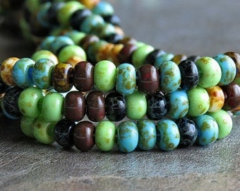 Czech 5/0 Aged Mosaic Mix Opaque Glass Seed Bead : 10 Inch Strand Rocaille Picasso Mix
