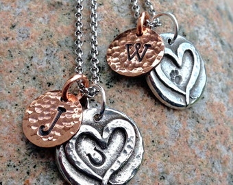 Hoof Print or Paw Print on Heart Necklace, Rustic Jewelry, Mixed Metal, Custom Pet Name Pendant, Horse Lover's Gift, Dog Mom Monogram