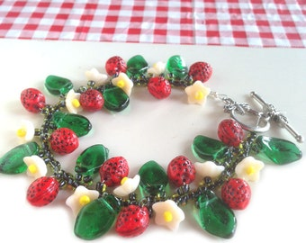Strawberry Fields  Bracelet Kit Czech Beads Supply and Instructions Fringe Cha Cha