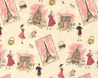 Waverly tres chic paris fabric remnant 1/2 yard, 54 inches wide