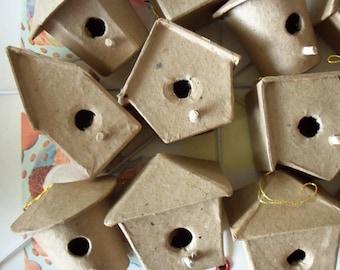 Vintage / Papier Mache Birdhouses / One Dozen / Variety of Styles / DIY Ideas / Fairy Gardens / Scenemakers