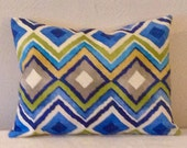 Decorative-Accent-Throw PIllow Covers-Approx 12 x 16 inch- Multi-Colored Ikat Diamond,Free Domestic Shipping