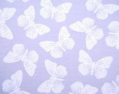 VINTAGE butterfly fabric pale lilac and white screen print Daisy Kingdom Flutterbys