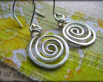 Spiral Energy Earrings - Sterling Silver Swirl Symbolic - Gift Graduation Retirement Birthday Best Friends Sister Mother Daughter  Reiki