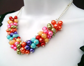 Rainbow Coloured Necklace, Pearl Necklace, Multi Coloured Jewelry, Colours of the Rainbow, Cluster Necklace, Chunky Necklace, Bridesmaid