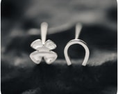 Lucky Charms - Four-leaf Clover and Horseshoe Sterling Silver Stud Earrings - Mix and match