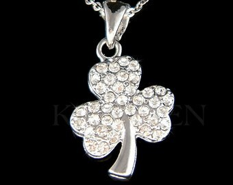 Swarovski Crystal Irish  St. Saint Patrick's Day Lucky Clear Three Leaf CLOVER SHAMROCK Charm Chain Necklace Jewelry Friends Christmas Gift