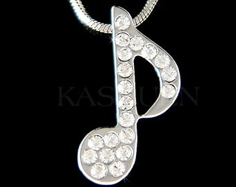 Swarovski Crystal Piano MUSIC musical Eighth NOTE Quaver Charm Pendant Chain Necklace Jewelry Christmas BFF Best Friend Teacher Student Gift