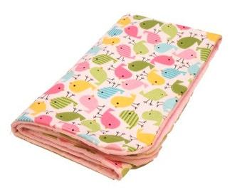 Personalized Cute Birds on Pink Minky Baby Blanket