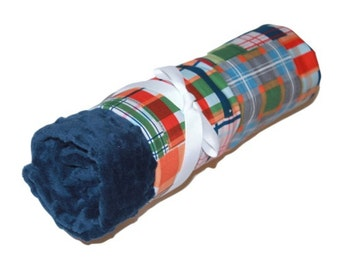 Personalized Navy Plaid on Navy Minky Baby Blanket