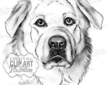 Dog Clipart | Black & White Drawing Download | Clip Art Dog Sketch | Animal Art | Digital Scrapbooking | Scrapbooking Supplies | Dog Art