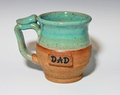 Dad mug, Handmade personalized pottery, turquoise, ready to ship