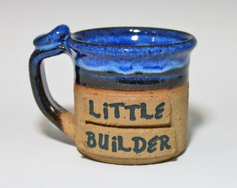 Little builder cup, small mug, cup for kids, handmade pottery,  ready to ship