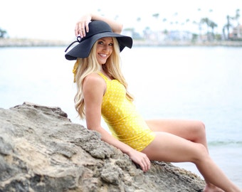 The Bella Yellow & White Polka dot one piece Pin Up Maillot Swimsuit sizes xs-xl made to order