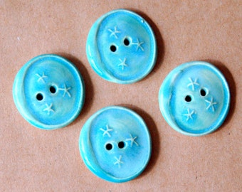 4 Handmade Ceramic Buttons - Moon Buttons - Small Buttons-  Aqua Gloss Buttons in White Stoneware
