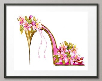 Fine Art Print Pink Cherry Blossoms Flower Shoes Stiletto Fashion Colorful Watercolor Painting Elena