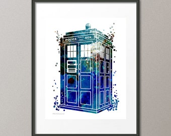 Tardis Dr Who Fine Art Print Time Space Machine Police Box Kids Nursery Childrens Wall Art Home Decor