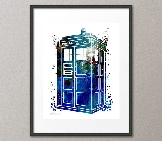Tardis Dr Who Fine Art Print Time Space Machine Police Box Kids Nursery Childrens Wall Art Home Decor