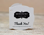 """75 Mini Folding Thank You Cards 1.5"""" - Fancy Square Cut  - Packaging Social Media - Gift Tags - Party Tags - Wedding Tags - Favor Tags"""