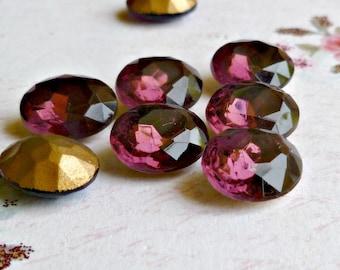 12 Vintage Czech 12x10mm Amethyst Purple Glass Rhinestone Jewels (26-3F-12)