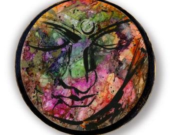 "Buddha Art, Painting, Zen, Mixed Media, Original Contemporary Modern Mixed Media art OOAK ""Buddha Love No. 12"" by Kathy Morton Stanion EBSQ"