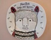 hand painted plate, monster illustration bowl, hugs and kisses, original art white plate, stipple,unique wall art, black white illustration