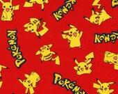 Pokémon cotton fabric from Robert Kaufman, Flame Red Pokemon, yard