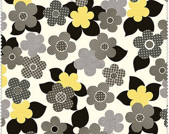 Anapola by Red Rooster Fabrics, Floral Blooms in Gray and yellow, yard