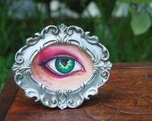 OOAK Heart Eye Art Copic Art Eye Art Framed Art Original Art Green Eye