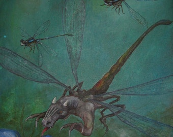 Dragonfly Dragon print of painting